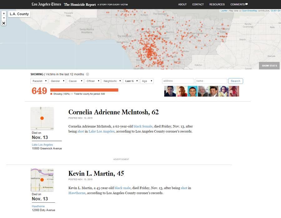 Карта убийств и криминальная хроника The Homicide Report, The Los Angeles Times
