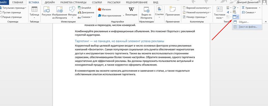 Вставляем в документ объект или текст из файла