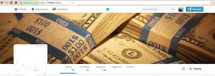 Пример агрессивного оформления профиля в «Твиттере»
