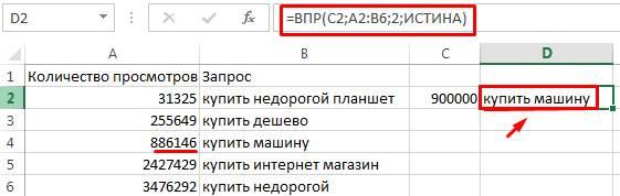 В данном случае применен интервальный просмотр с функцией ИСТИНА, которая выдает приблизительное значение – «886146» («купить машину») при искомом значении «900000»