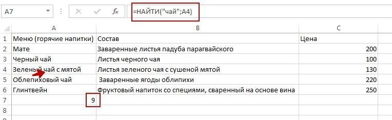 Результат, который вывела формула – 9, то есть искомый текст («чай») начинается с девятого символа в просматриваемой строке (А4). Такой же результат выдает функция НАЙТИБ, т.к. в данном случае 1 байт равен одному символу