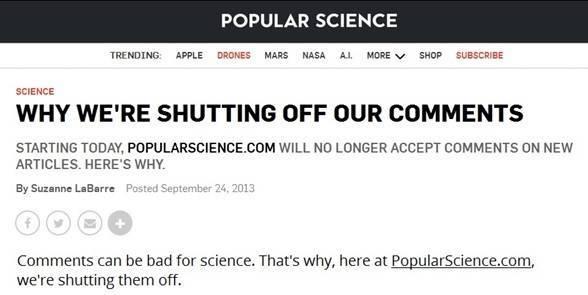 Popular Science отключили комментарии своих статей, объяснив это тем, что они могут быть вредны для науки