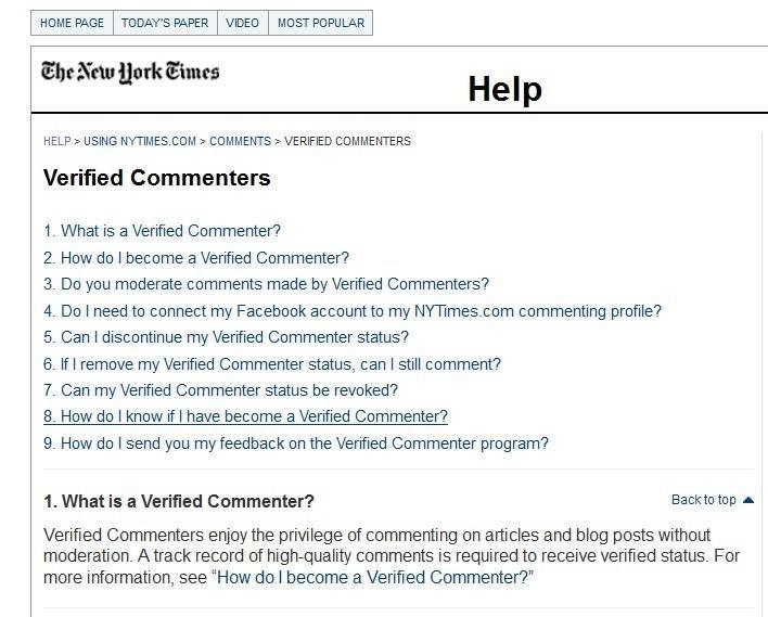 Статус проверенного комментатора можно получить на New York Times