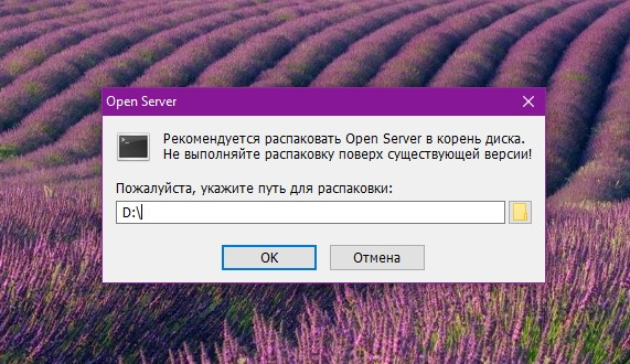 Выбираем путь установки Open Server