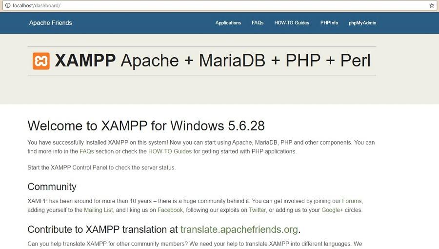 Страница приветствия Xampp