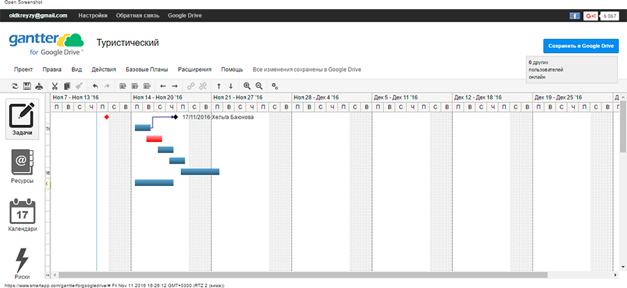 Вся работа в системе строится вокруг диаграммы Ганта