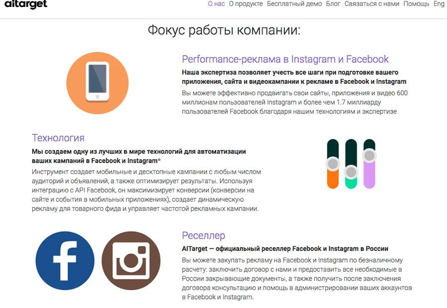 Описание деятельности маркетингового партнера AiTarget с официального сайта