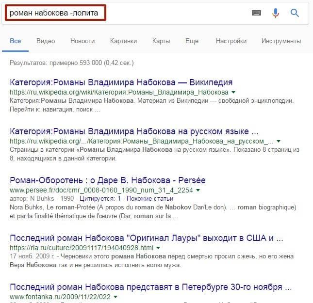 Если вы хотите посмотреть, например, что написал Владимир Набоков кроме «Лолиты», поставьте дефис перед словом «лолита»