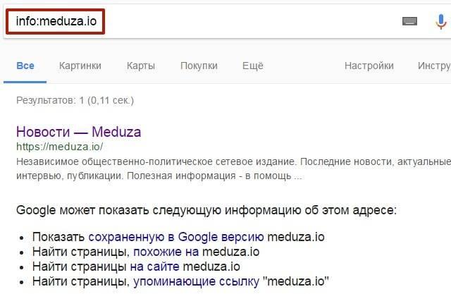 Google предоставил описание сайта, а также показал, какую информацию о сайте еще можно посмотреть