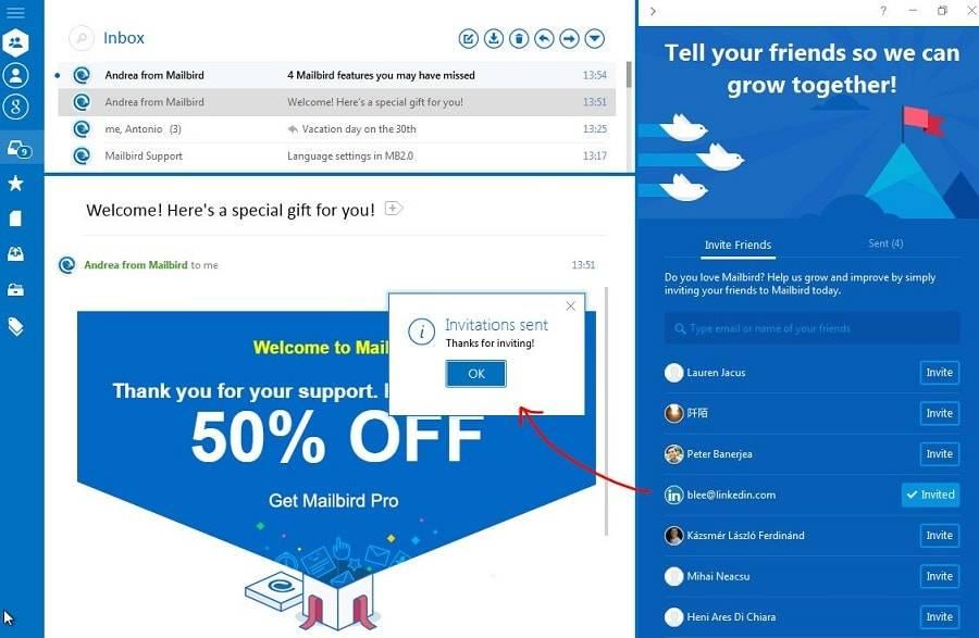Отправить инвайты можно прямо из почты в один клик