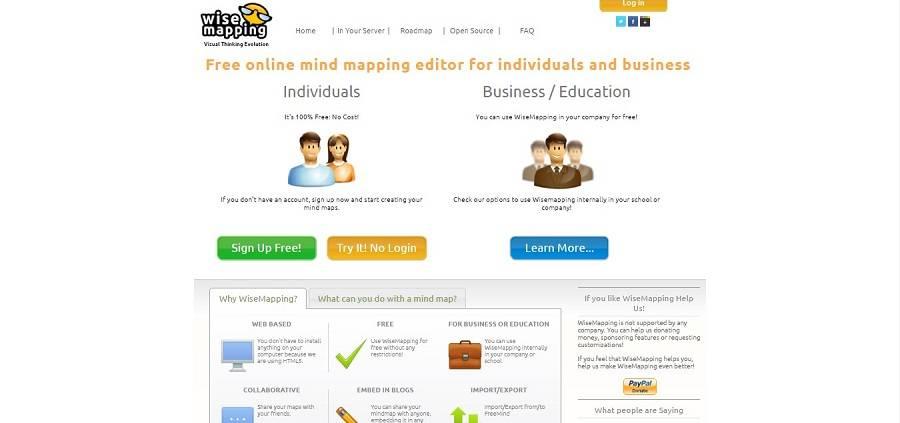 Wisemapping подходит для индивидуальной работы, бизнеса и образования