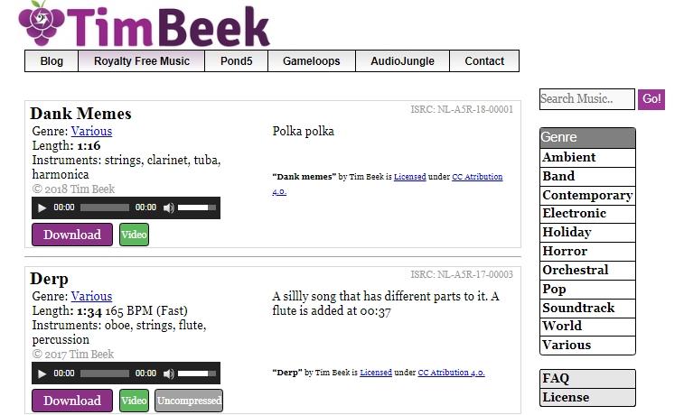 Каталог бесплатной музыки на timbeek.com
