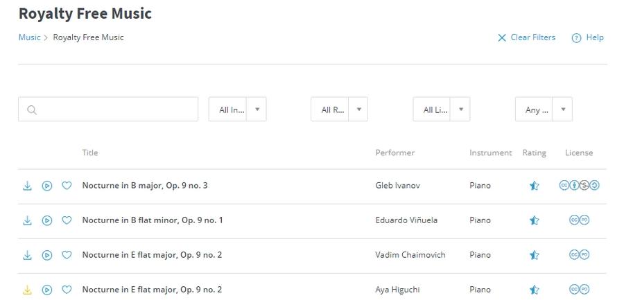 Обратите внимание, не вся музыка – public domain. Некоторые композиции требуют атрибуцию, не разрешены для коммерческого использования