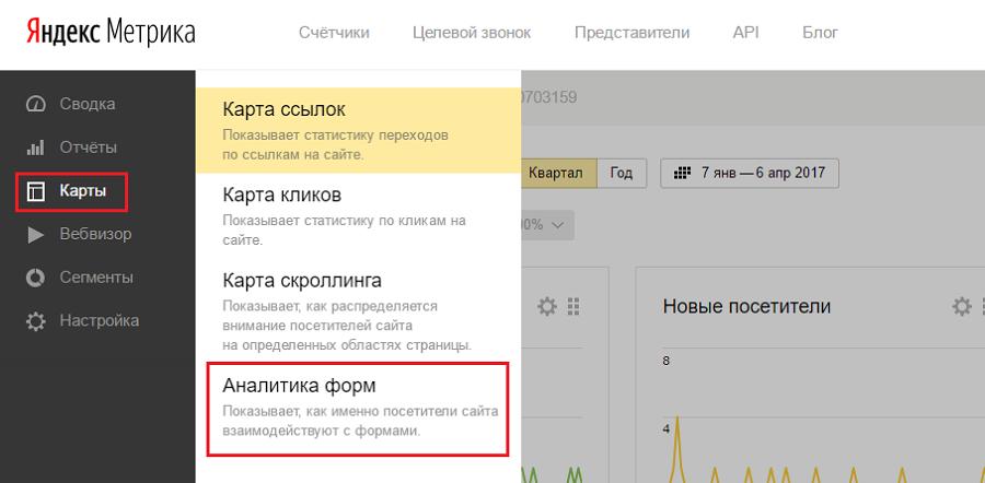 Переход на аналитику форм в «Яндекс.Метрике»