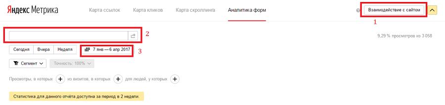 Настройка аналитики форм в «Яндекс.Метрике»