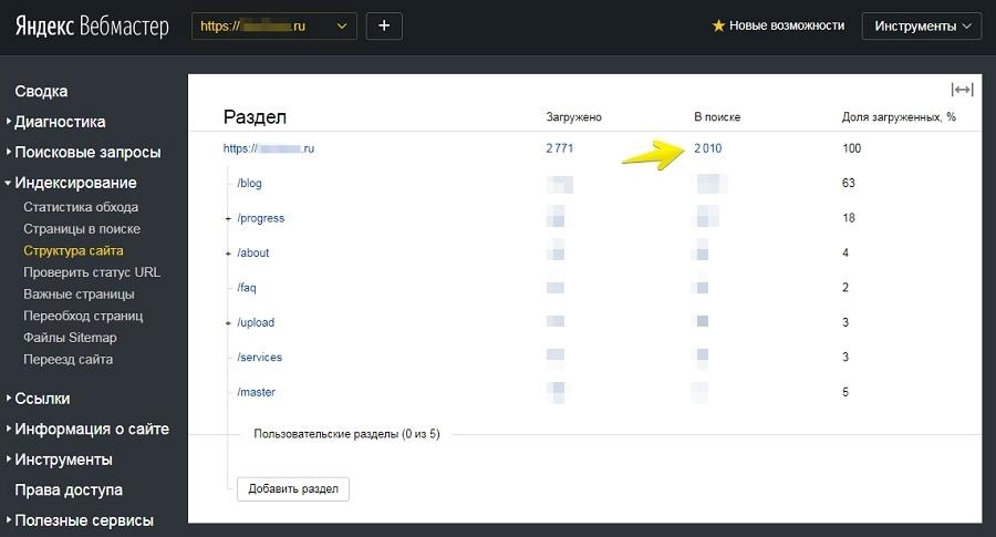 «Яндекс.Вебмастер» – Индексирование – Структура сайта