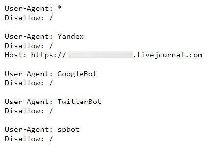Так виглядає robots.txt у журналу з «малою вагою»