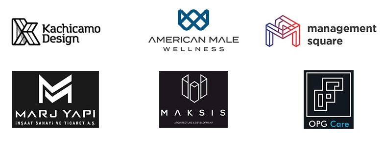 Примеры углов и сгибов в логотипах