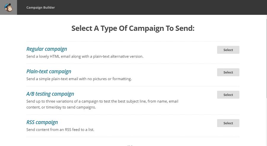 Выберите один из 4 типов кампании