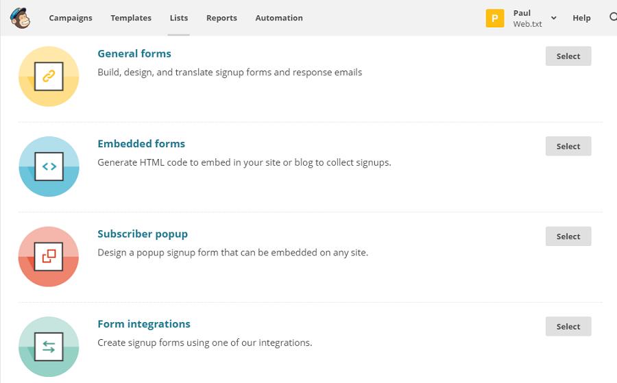 Инструменты для создания форм подписки