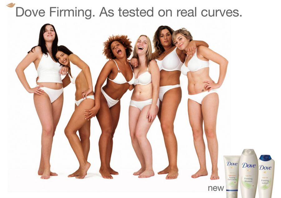 Рекламный принт Dove со слоганом «Протестировано на реальных формах» дает женщинам почувствовать свою естественную красоту