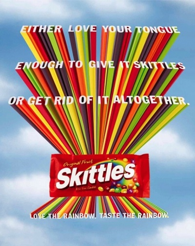 Принт Skittles, обыгрывающий легенду бренда