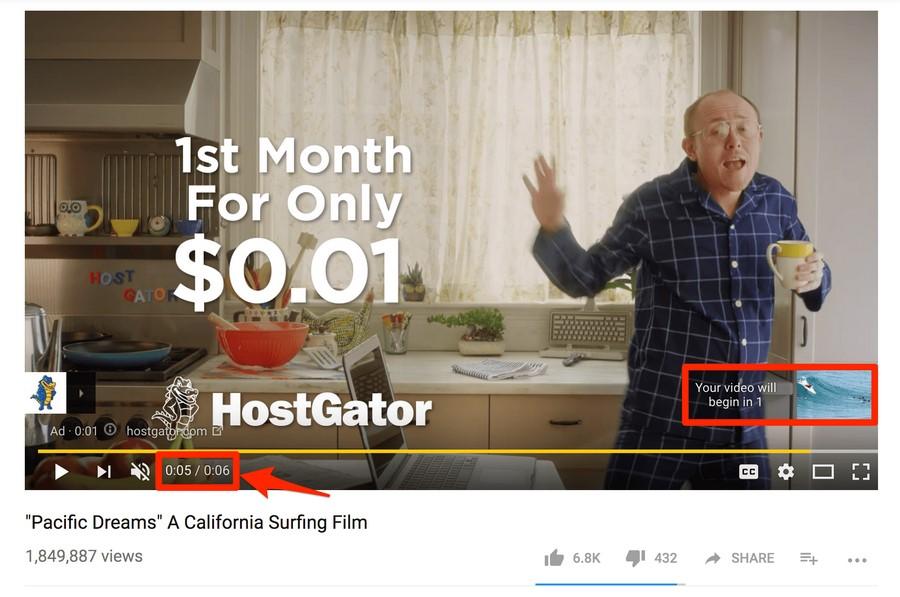 Пример Bumper YouTube Ad