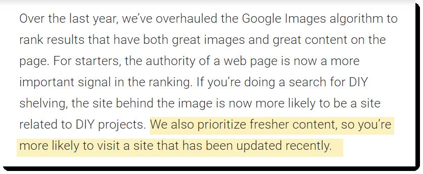 «Мы также уделяем первостепенное внимание свежему контенту, так что вы с большей вероятностью попадете на сайт, который недавно обновлялся»