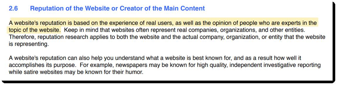 «Репутация веб-сайта основывается на опыте реальных пользователей, а также мнении людей, которые являются экспертами в теме»
