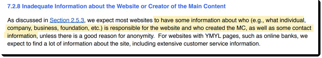 «…мы ожидаем увидеть на сайте информацию о том, кто ответственен за сайт и является создателем основного контента, а также его контактные данные»