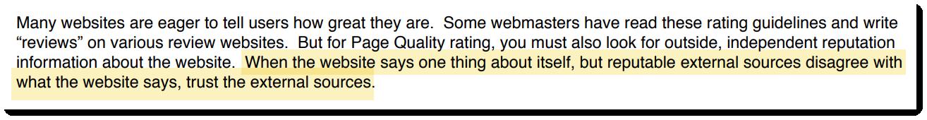 «Если сайт говорит о себе самом одно, а авторитетные внешние источники не согласны с этим, верить стоит внешним ресурсам»
