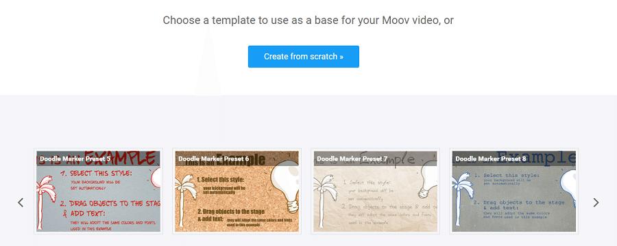 Выберите шаблон или начните делать видео с нуля